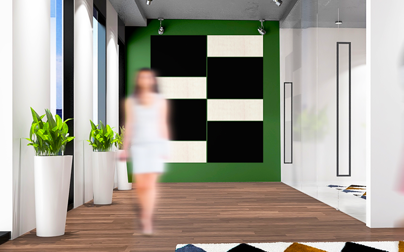 Architectural Focal Art Wall - Black & Beech Wood Grain Panels