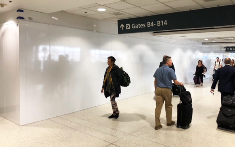 Temporary Partition Installed at Boston Intl Airport (BOS)