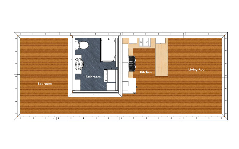 Layout Overview - Bedroom, Bathroom, Kitchen, Living Room
